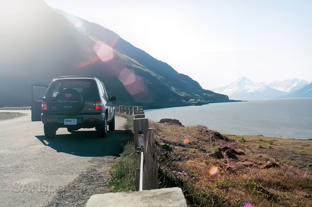 stopped along side the road south of anchorage