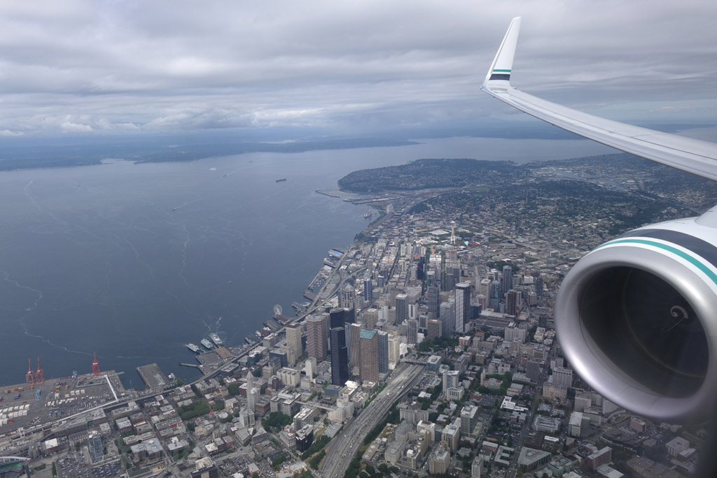 Flying directly over top of downtown Seattle
