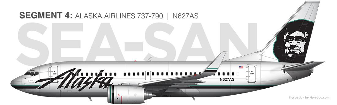 Alaska Airlines 737-700 N627AS illustration