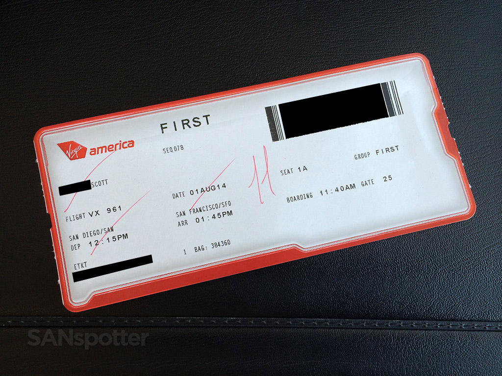 Virgin America first class boarding pass