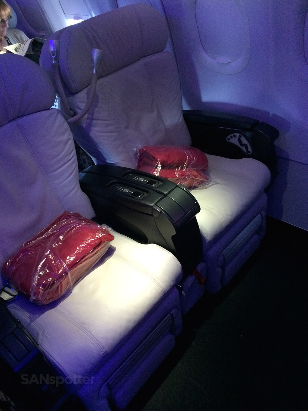 White leather Virgin America first class