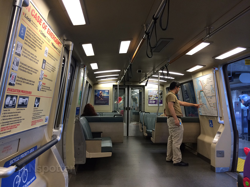 Inside the BART train