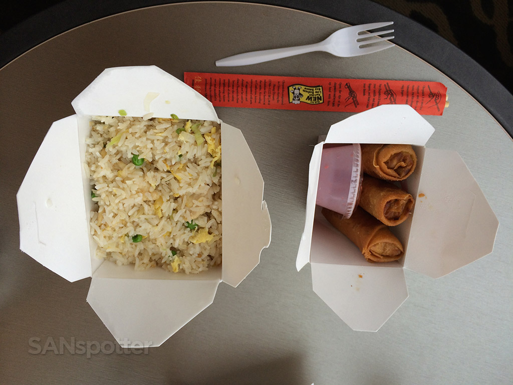 Chicken fried rice and vegetable spring rolls
