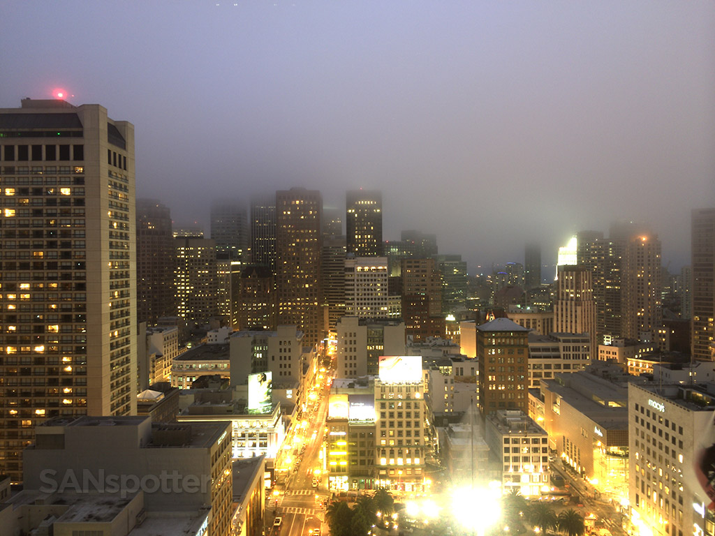 view of San Francisco from our hotel room window