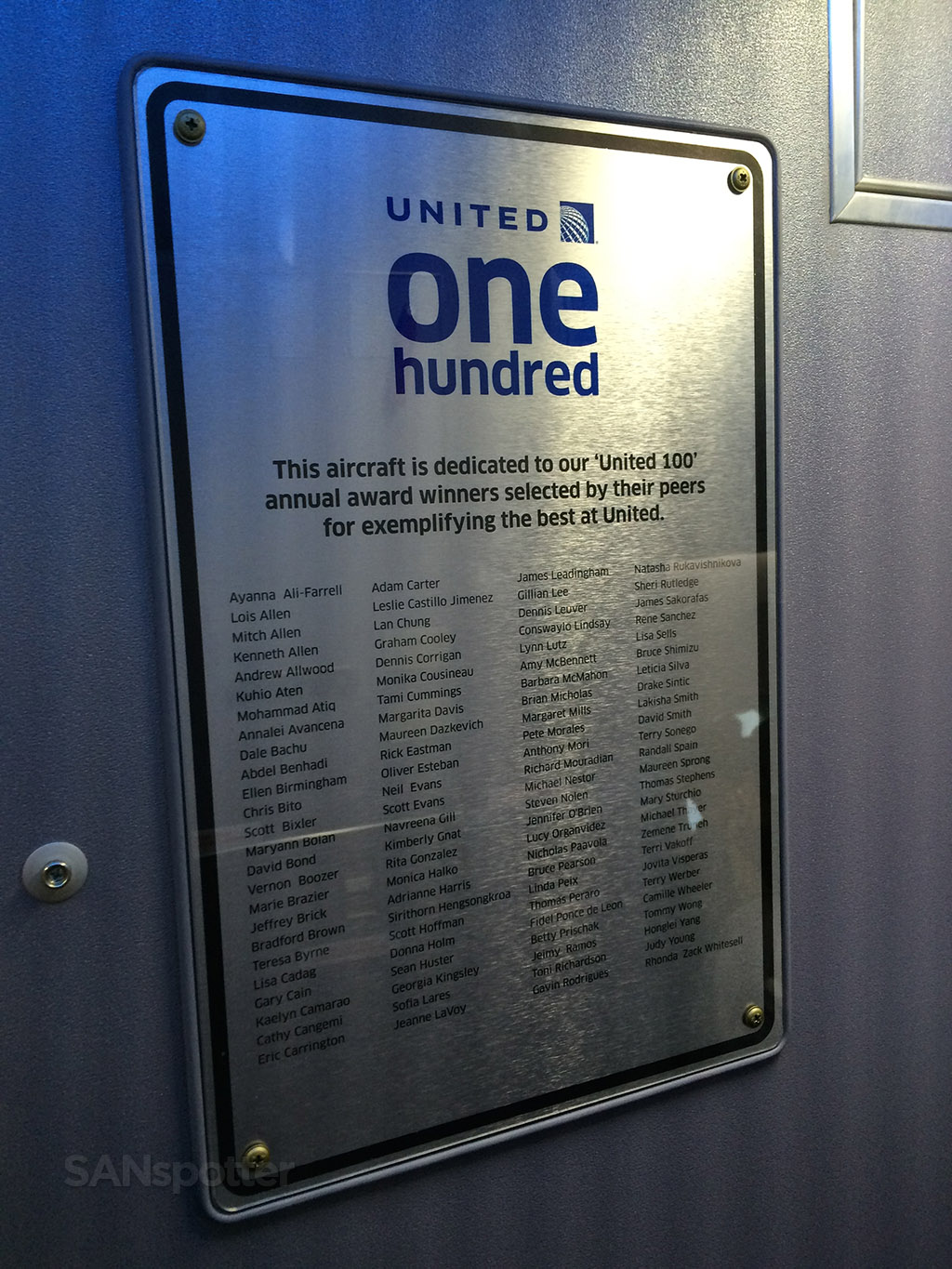 United Airlines One Hundred plaque