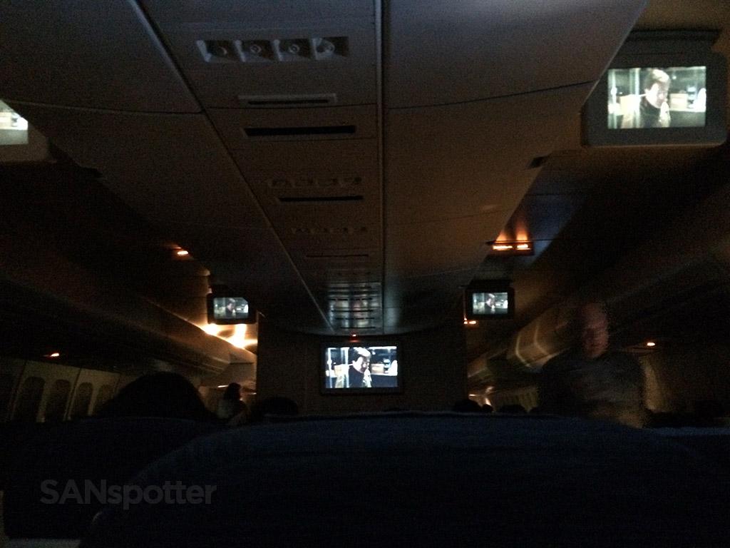 dark 747 economy class cabin
