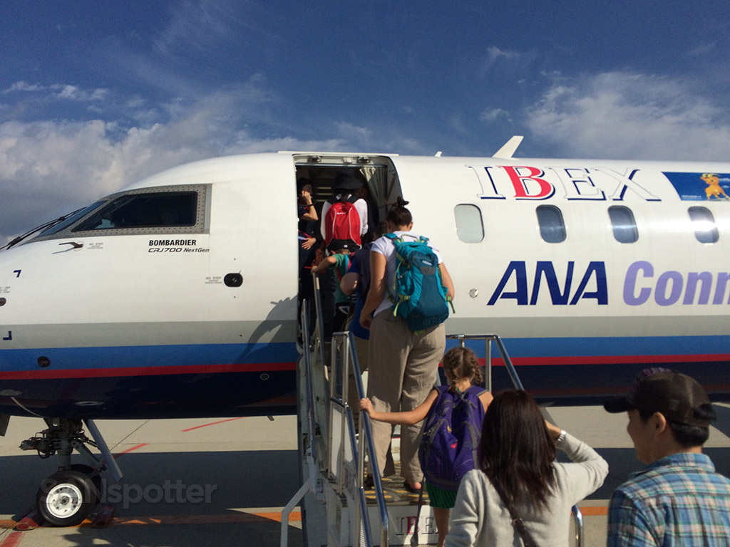 walking up the stairs to the Ibex CRJ-700