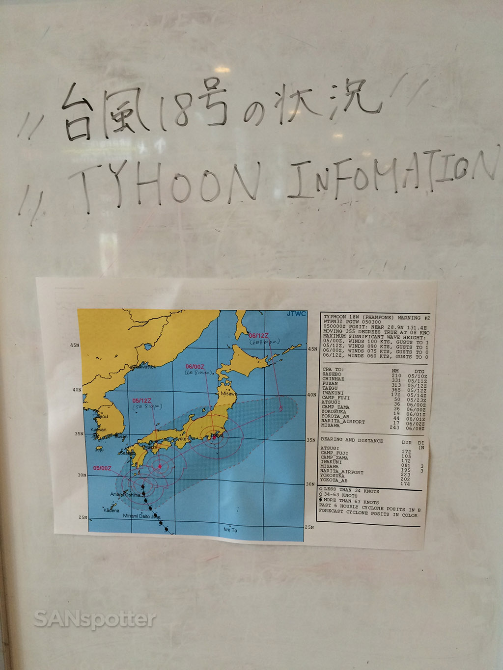 Typhoon information board