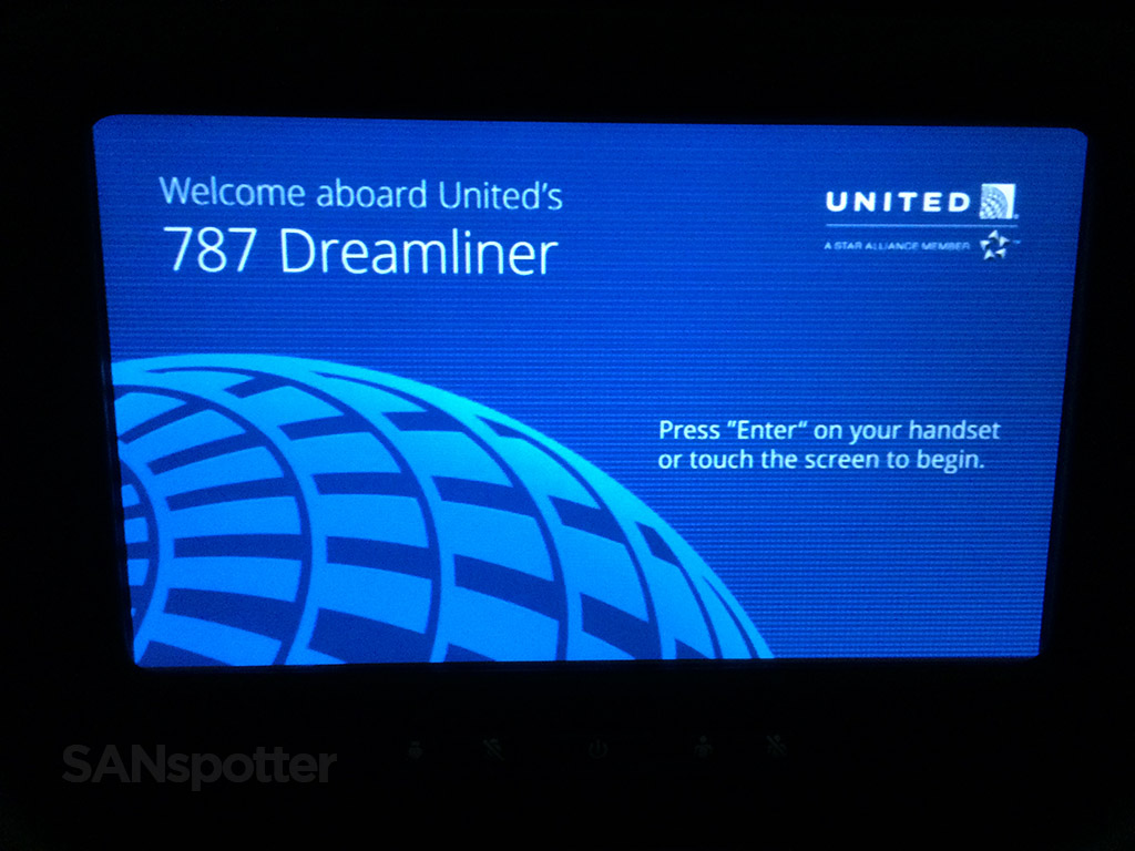united 787 dreamliner welcome screen