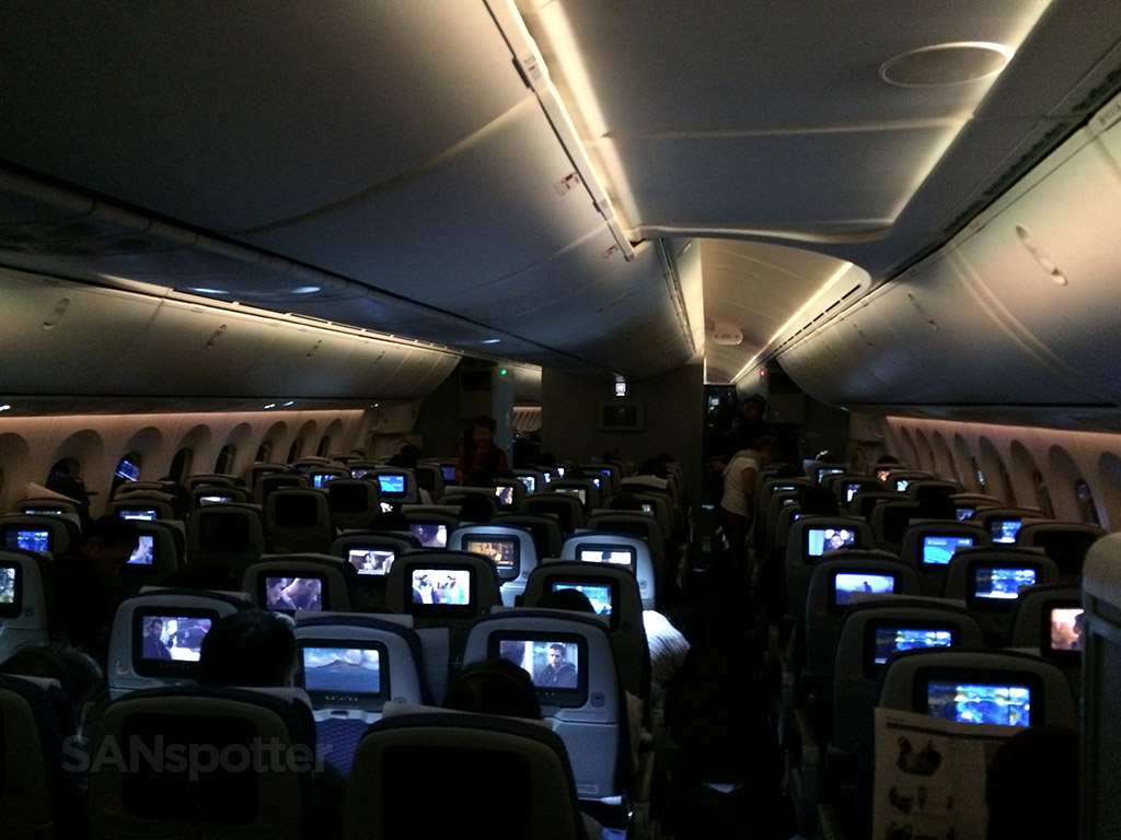 787-8 dreamliner cabin at night