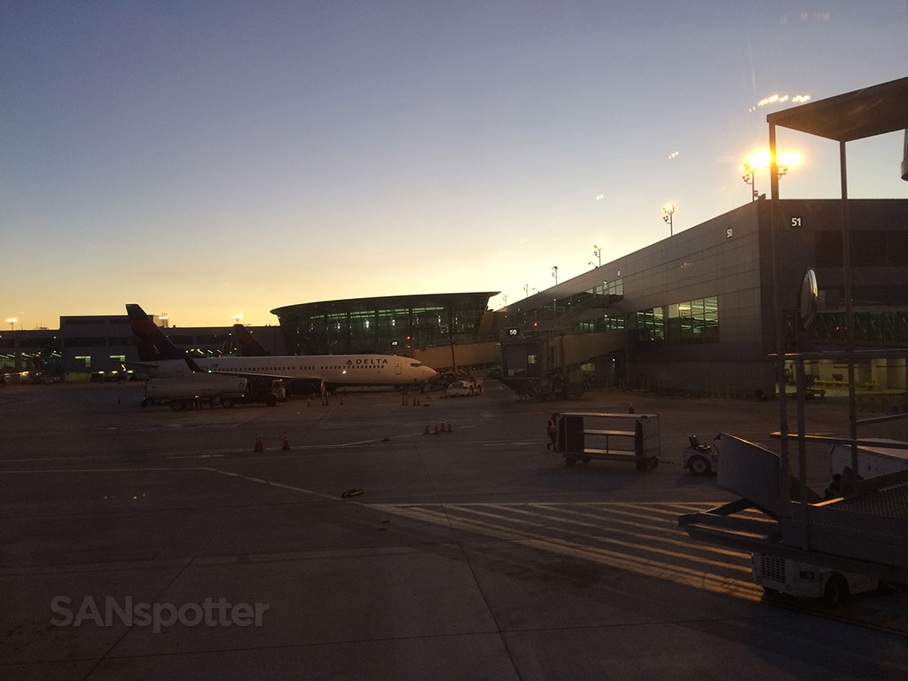 sunrise over terminal 2 at SAN