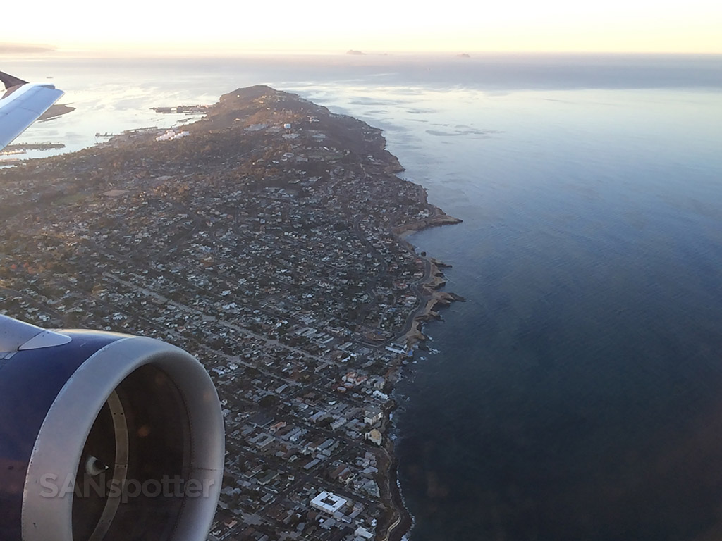 departing San Diego with Sunset Cliffs below