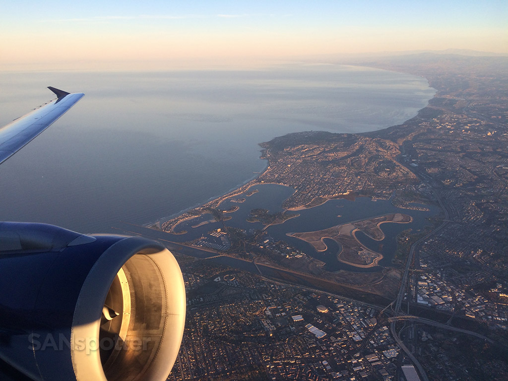 San Diego at sunrise from the air