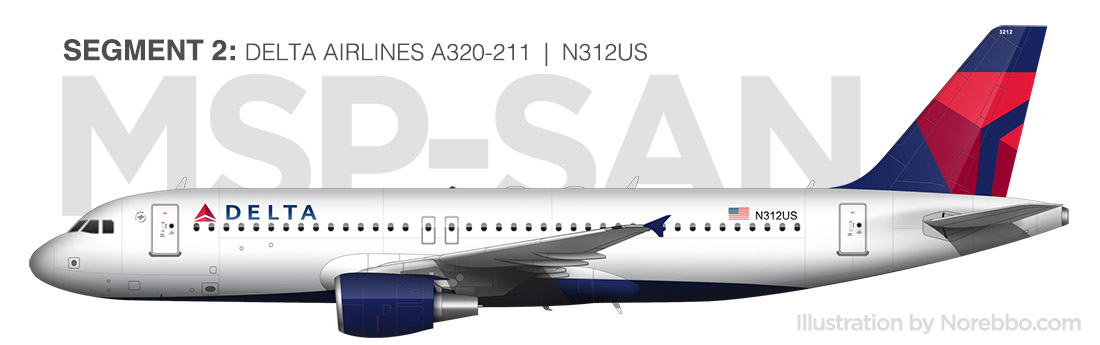 Delta A320 side view illustration