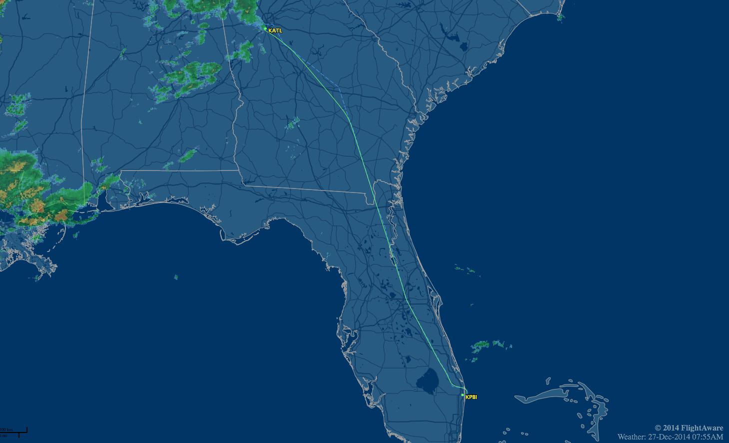 route map pbi-atl showing weather