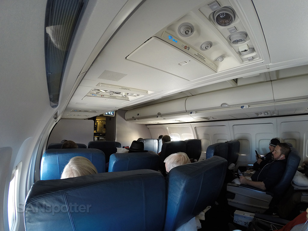 wide angle shot of the first class cabin