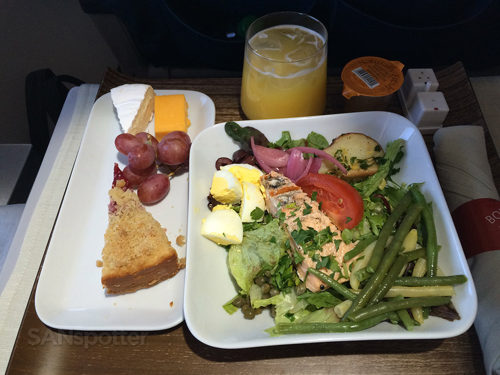 Salmon salad lunch entree in first class