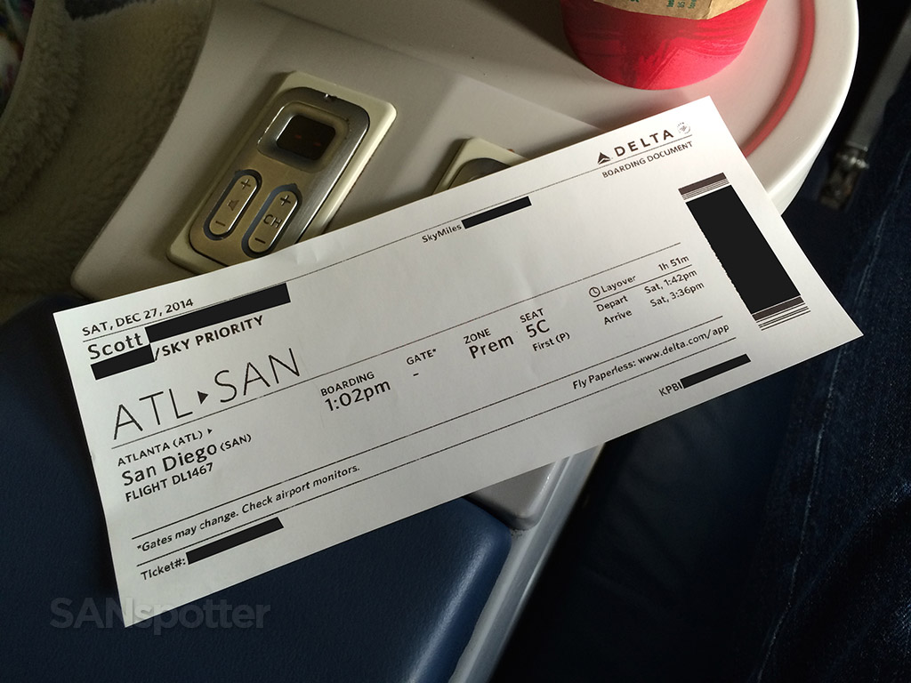delta airlines first class boarding pass