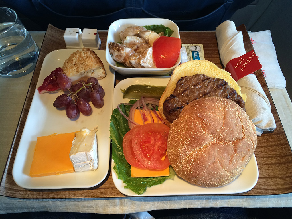 delta first class hamburger