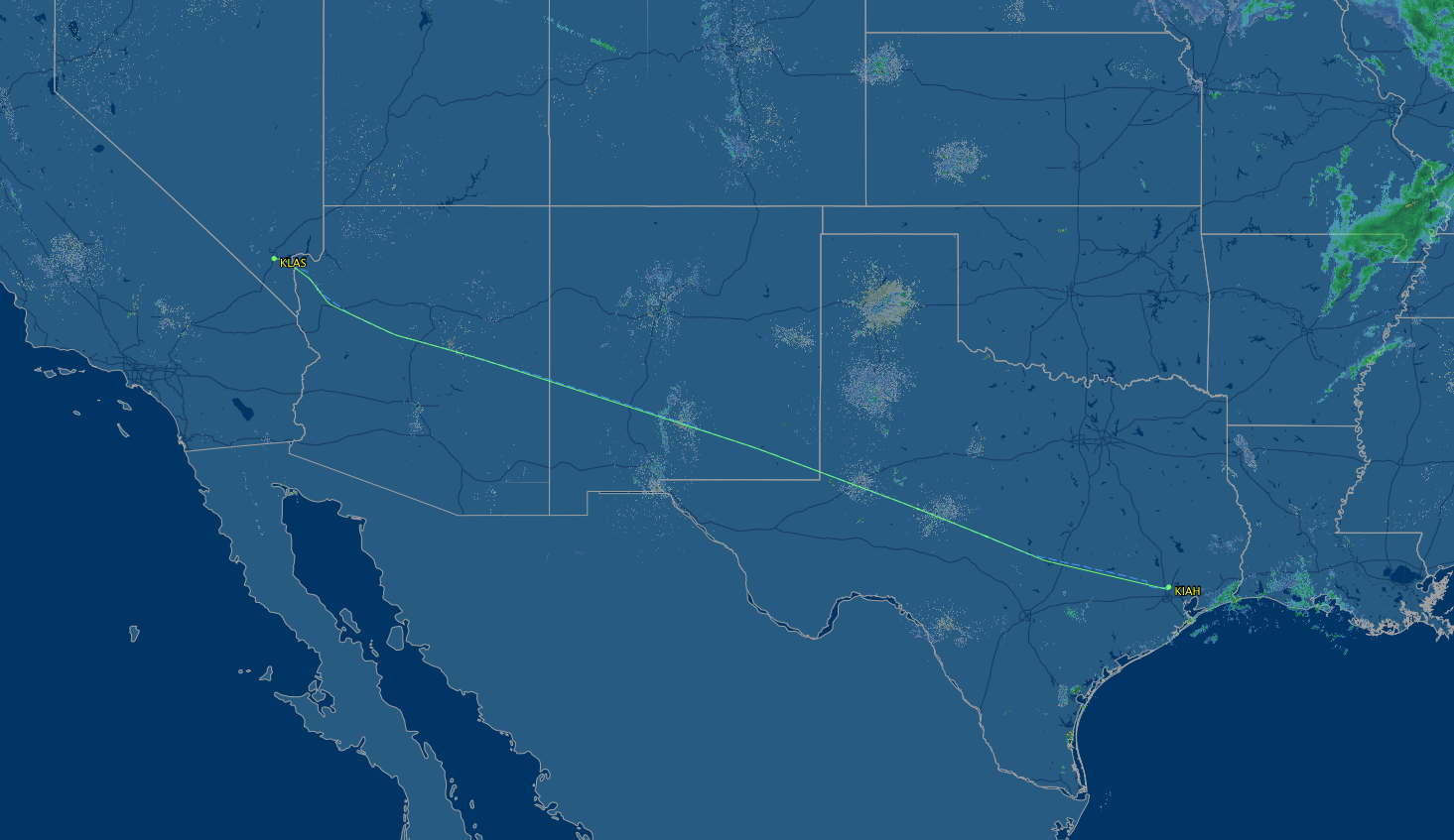 route map for Houston to Las Vegas