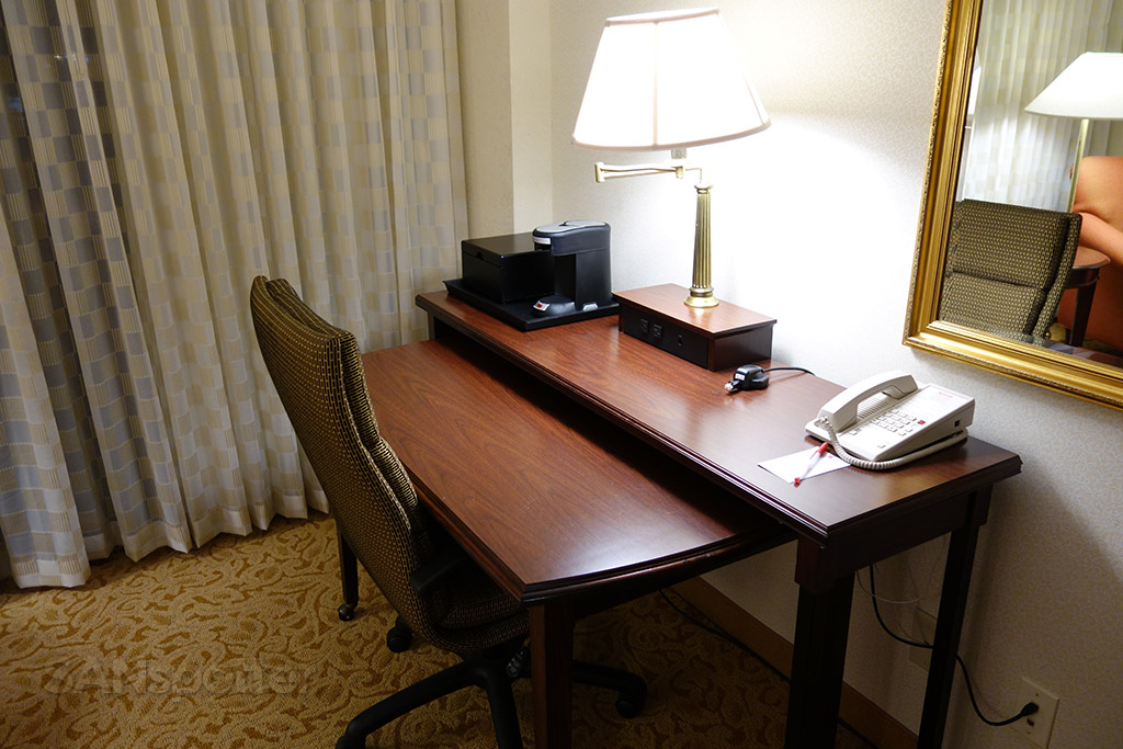 work desk in hotel room