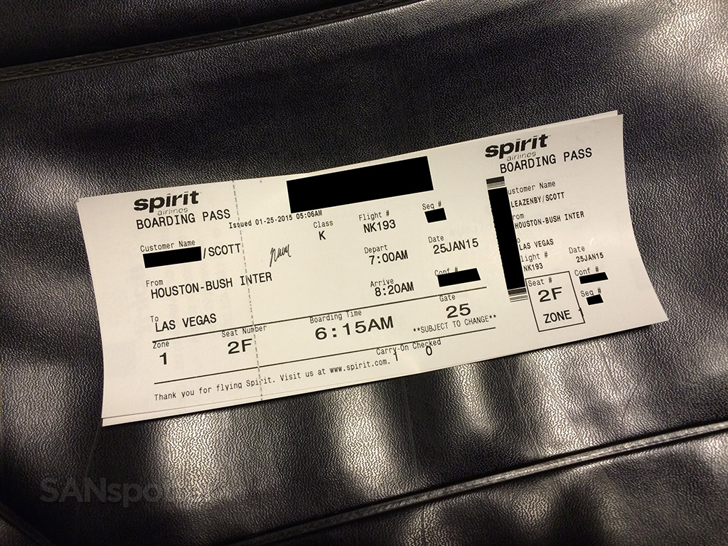 spirit airlines IAH to LAS boarding pass