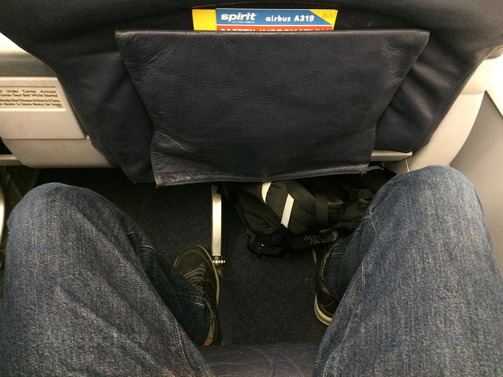 spirit airlines a319 big front seat leg room