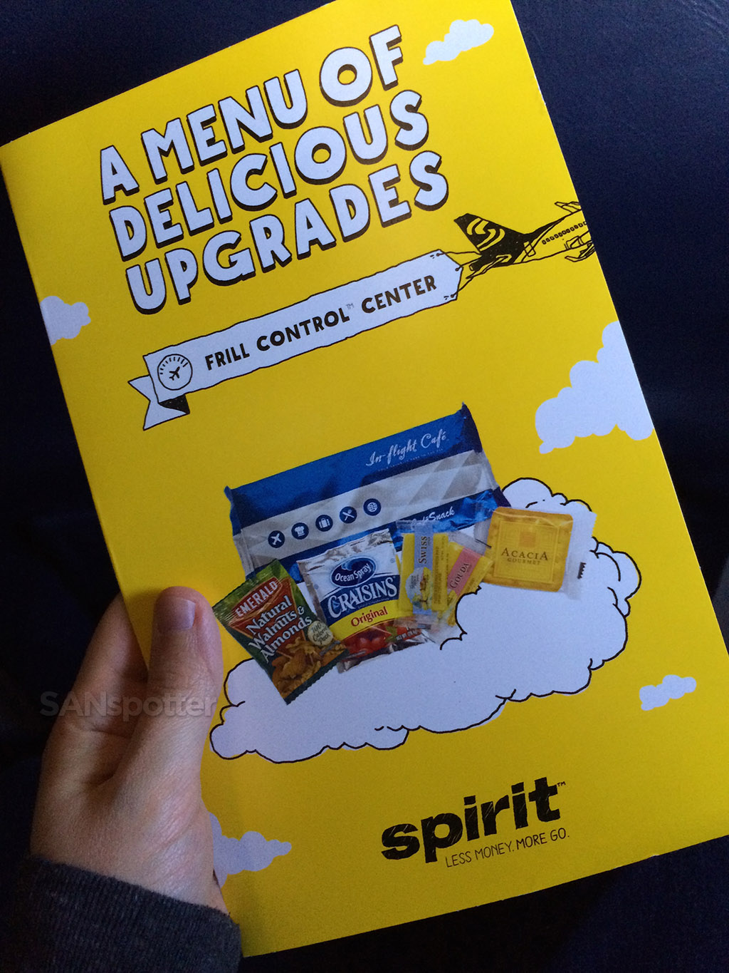 Spirit Airlines in flight menu
