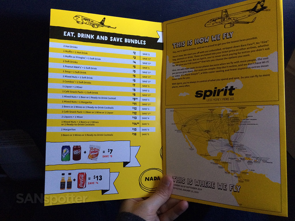 inside front cover spirit airlines menu