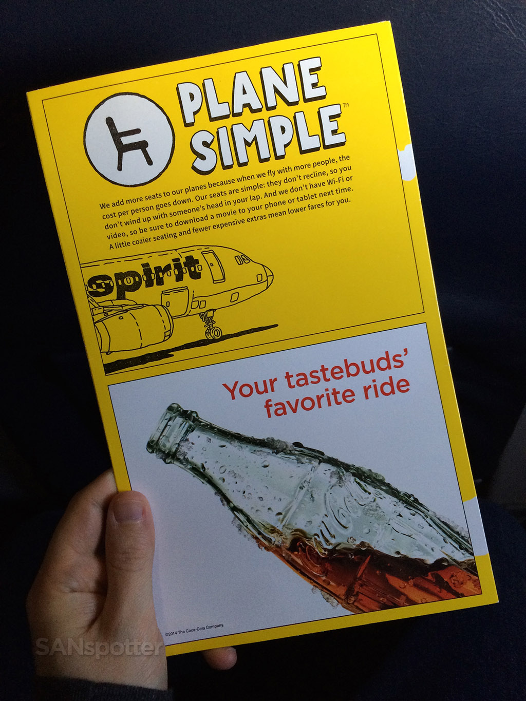 spirit airlines menu back cover