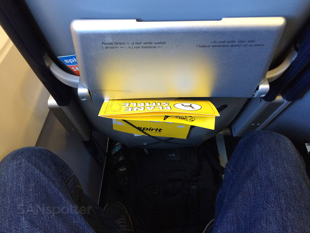 small tray table spirit airlines A319