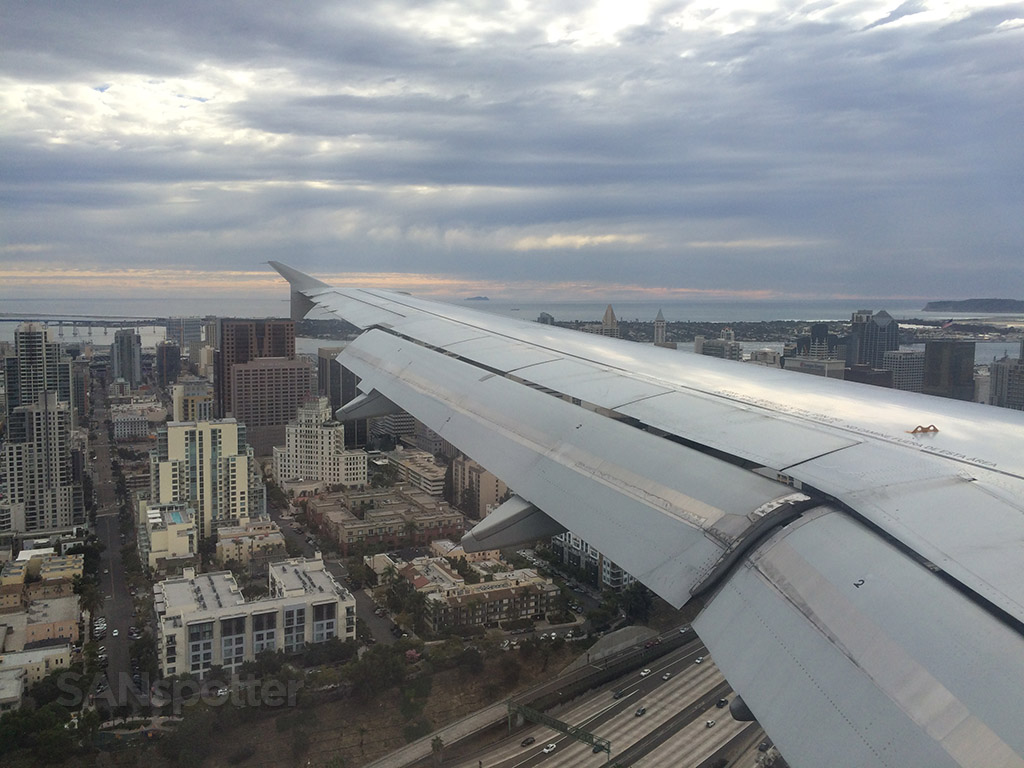 arriving in San Diego under overcast conditions