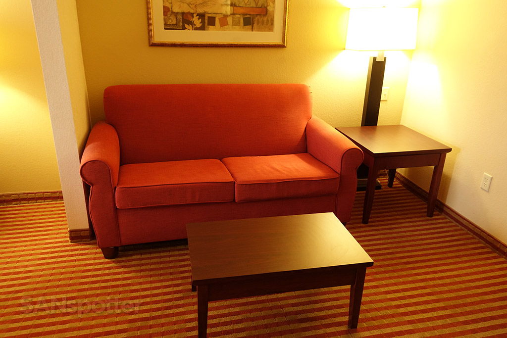couch and coffee table in the suite