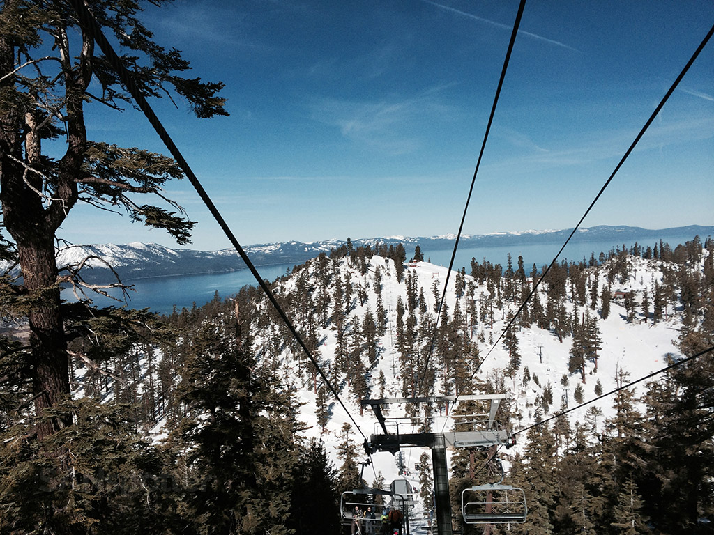 lake tahoe as seen from the chair lift