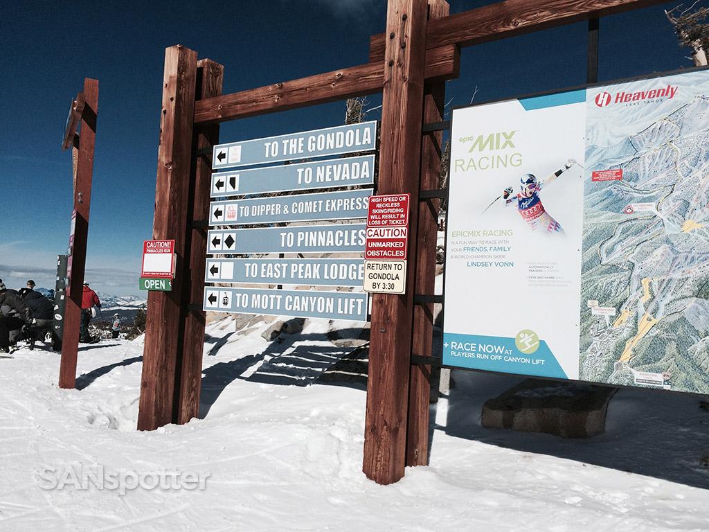 sign post at the top of heavenly ski resort