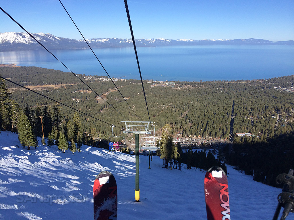 riding down the chairlift heavenly ski resort lake tahoe