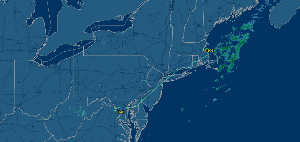 air route from IAD to BOS