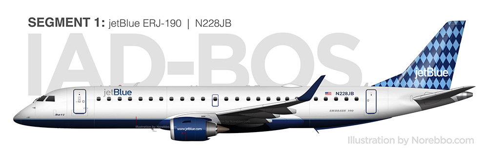 jetBlue Embraer 190 N228JB side view