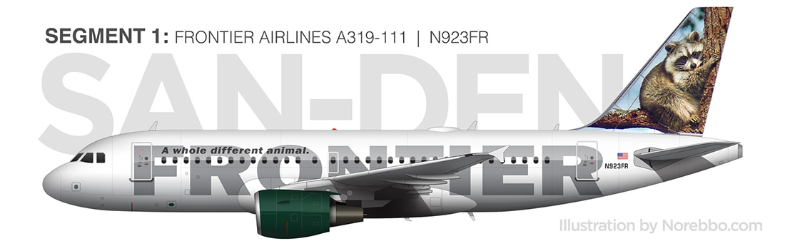 Frontier A319 side view illustration