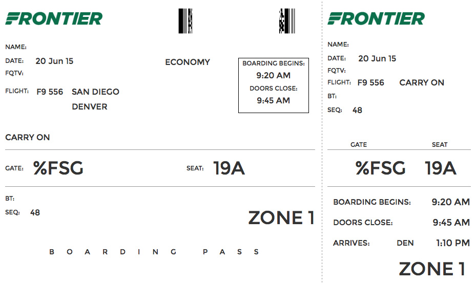 frontier airlines boarding pass