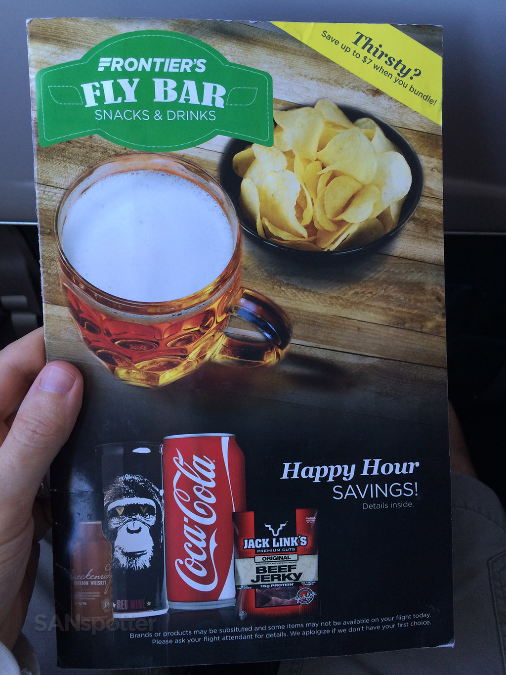 frontier airlines menu cover