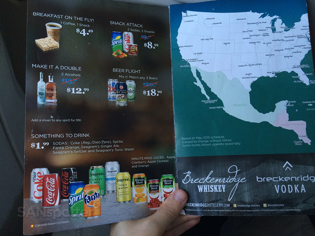 frontier airlines fly bar menu inside
