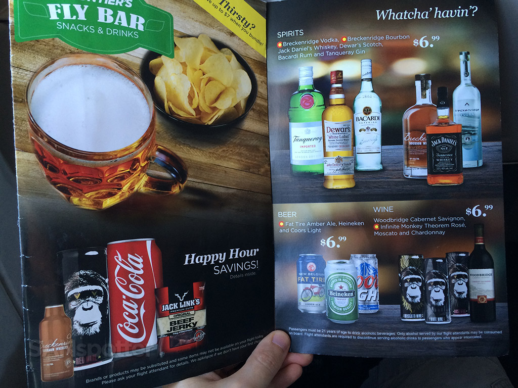 frontier airlines alcohol menu