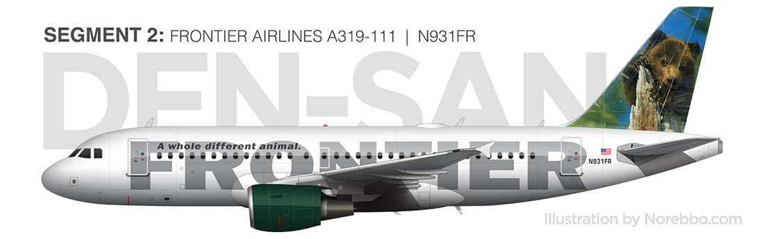 Frontier Airlines N931FR side view