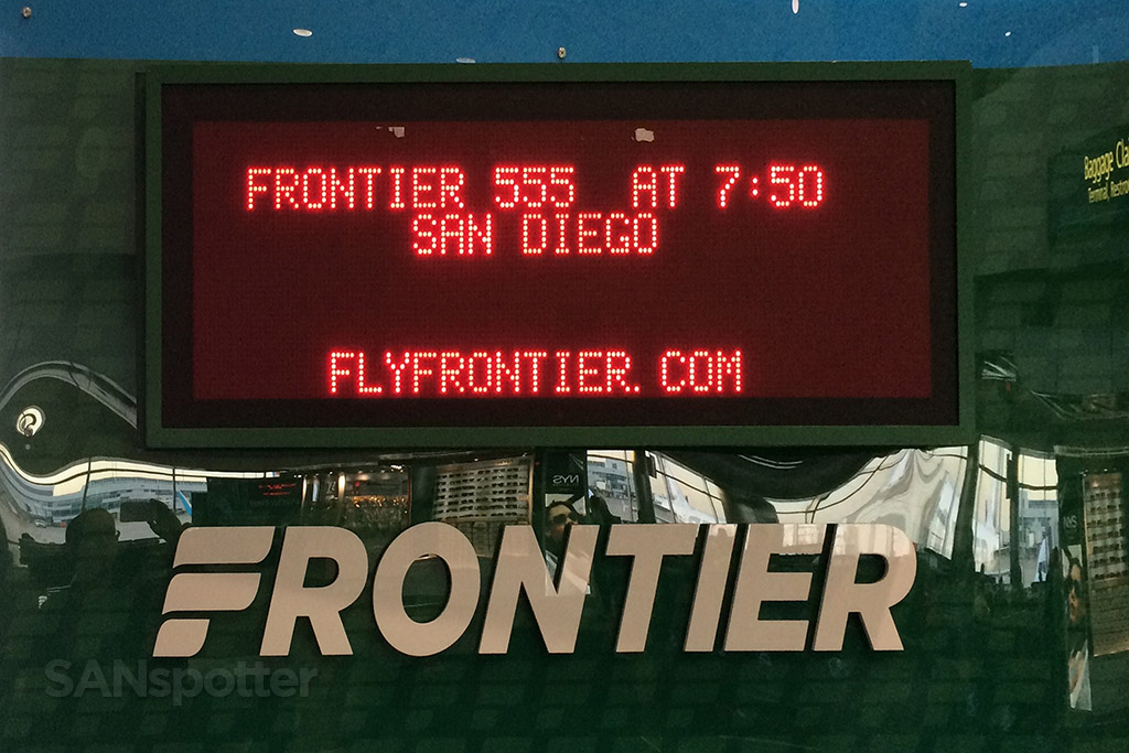 frontier airlines flight information display denver