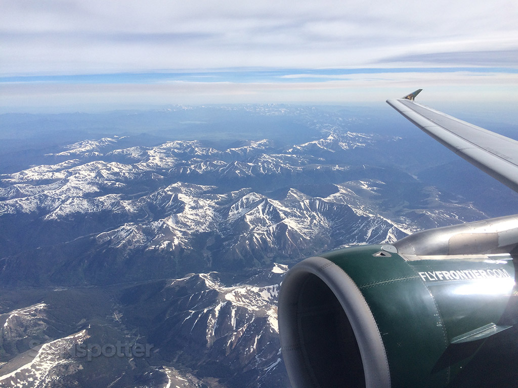 flying over rocky mountains frontier airlines
