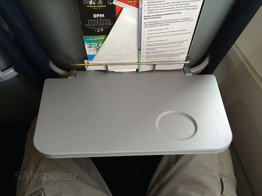 Tray table in the open position