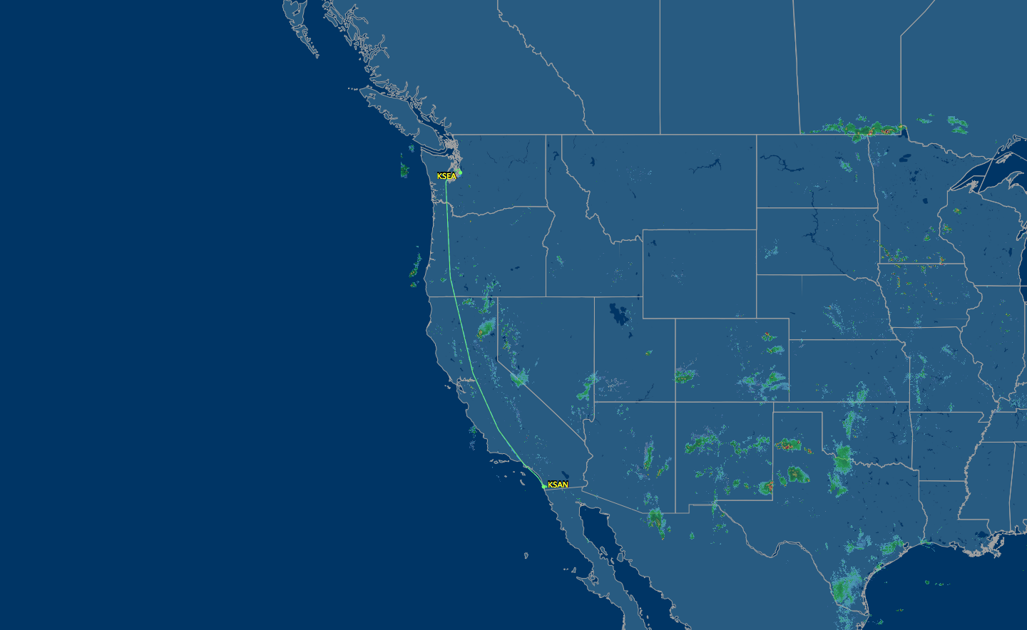 seattle to san diego flight map