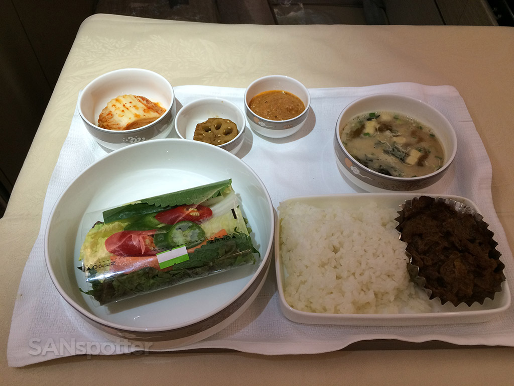 asiana business class dinner main course