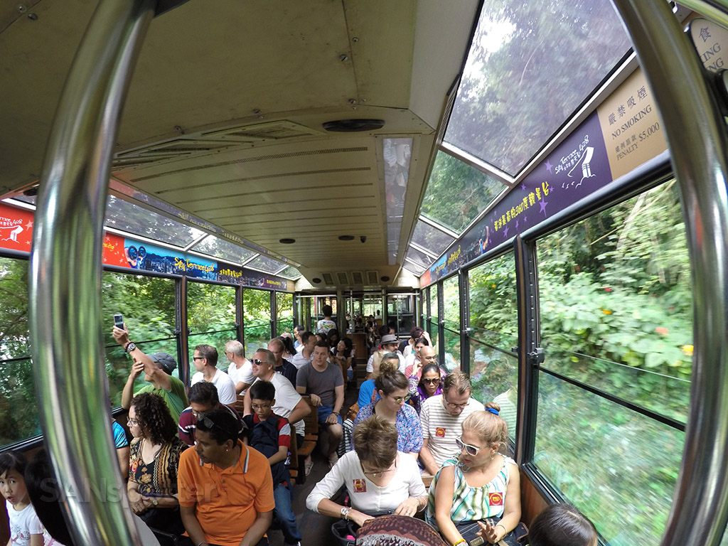inside the victoria peak tram
